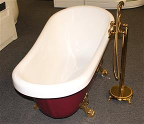 Classic Clawfoot Tub w/ Regal brass Lion Feet, Gold telephone style tub faucet   - Image 9