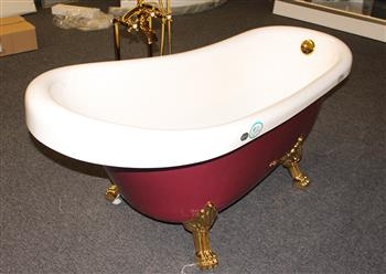 Classic Clawfoot Tub w/ Regal brass Lion Feet, Gold telephone style tub faucet   - Image 5