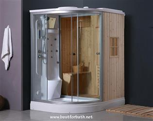 Steam Shower Enclosure with Traditional Sauna 	B001  - Image 1