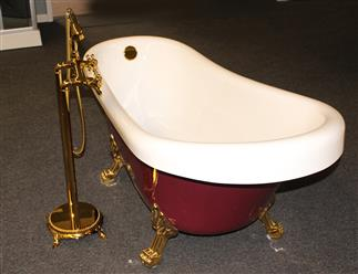 Classic Clawfoot Tub w/ Regal brass Lion Feet, Gold telephone style tub faucet   - Image 6